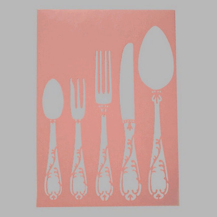 cutlery stencil transparent 210 x 295 cm washable