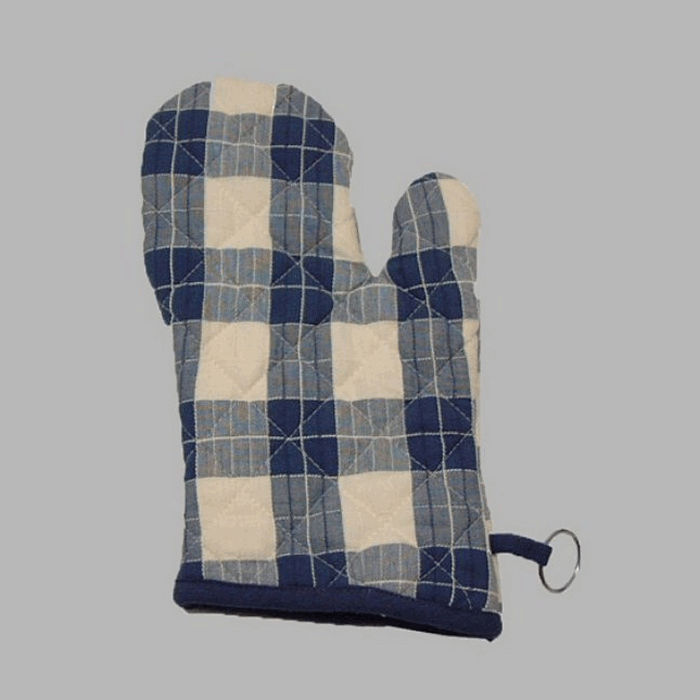 oven glove checkered design color white-blue 28 cm