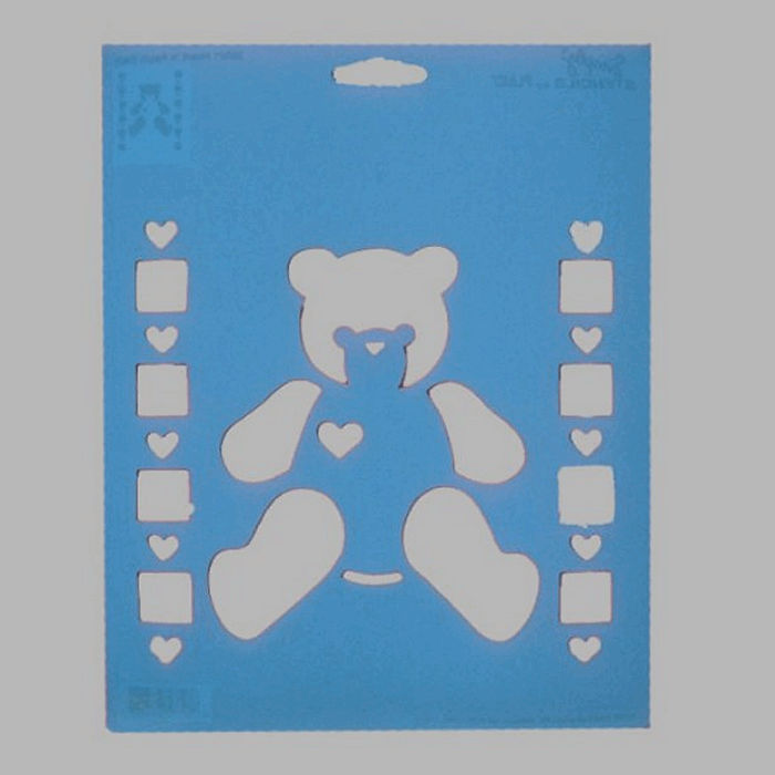 teddy bear stencil color blue 20 x 25 cm