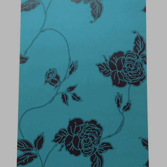 non-woven wallpaper retro petrol rose blue and black