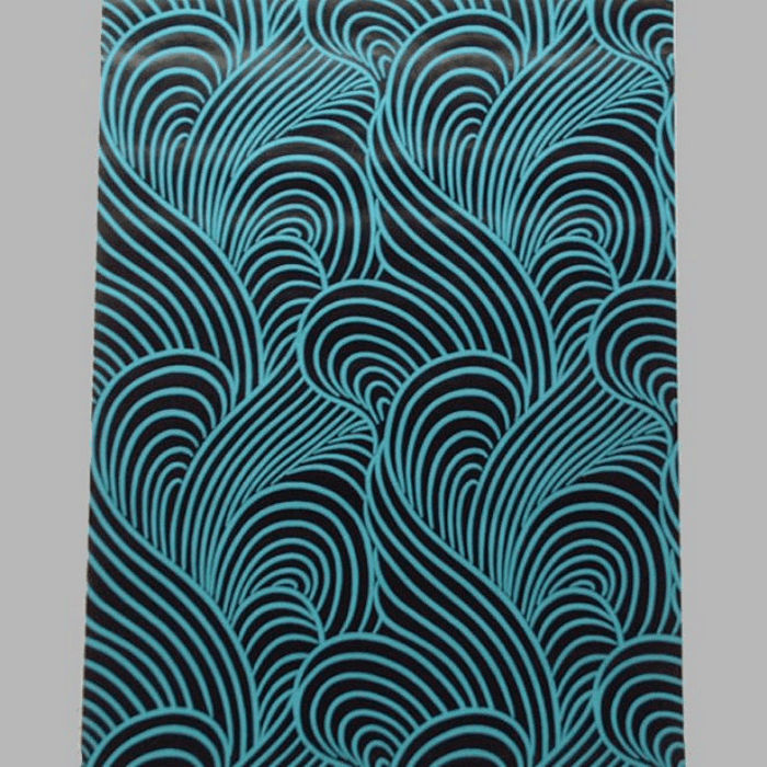 non-woven wallpaper retro petrol waves blue and black