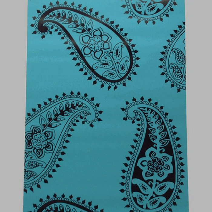 non-woven wallpaper retro petrol paisley blue and black