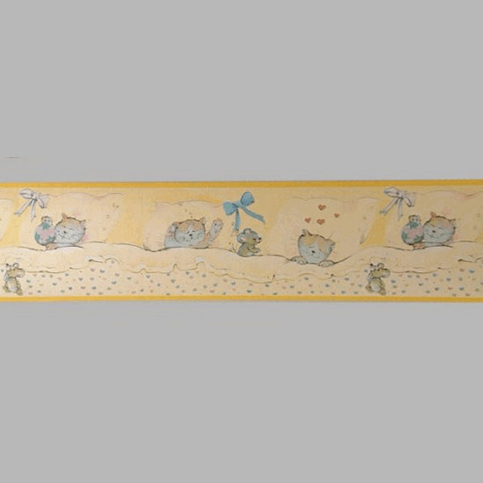 wallpaper border cat and mouse yellow 18 cm x 5 meter