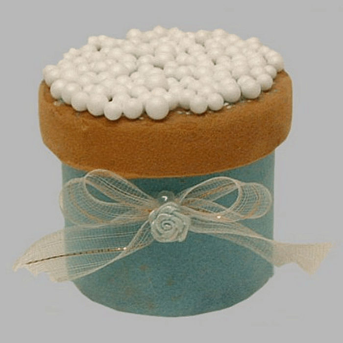 rusks box with sprinkles and bow white-blue 7 x 6 cm