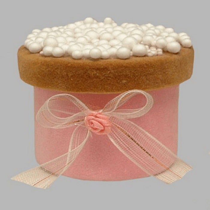 rusks box with sprinkles and bow white-rose 7 x 6 cm