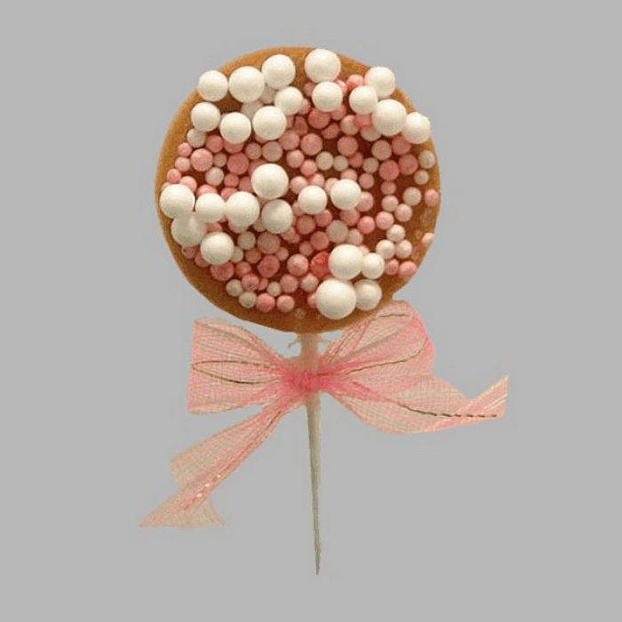rusks with sprinkles and bow for decoration white-rose 4x10cm