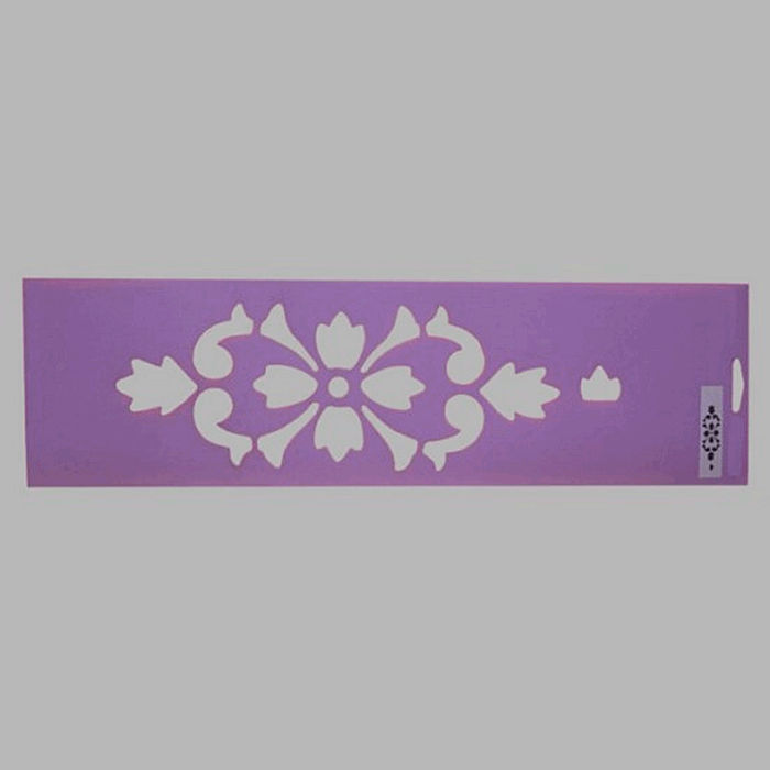 floral damask stencil color purple 12.5 x 45 cm