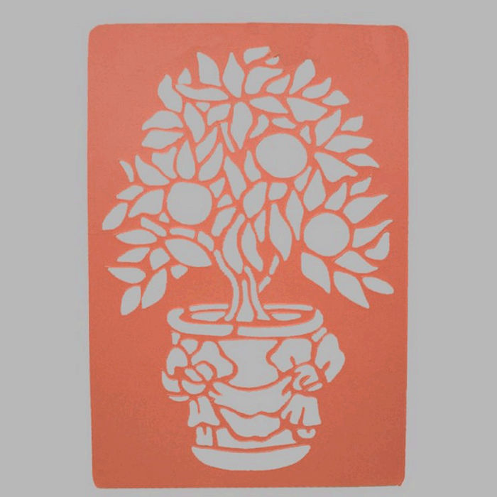plant in vase stencil transparent 26 x 38 cm washable