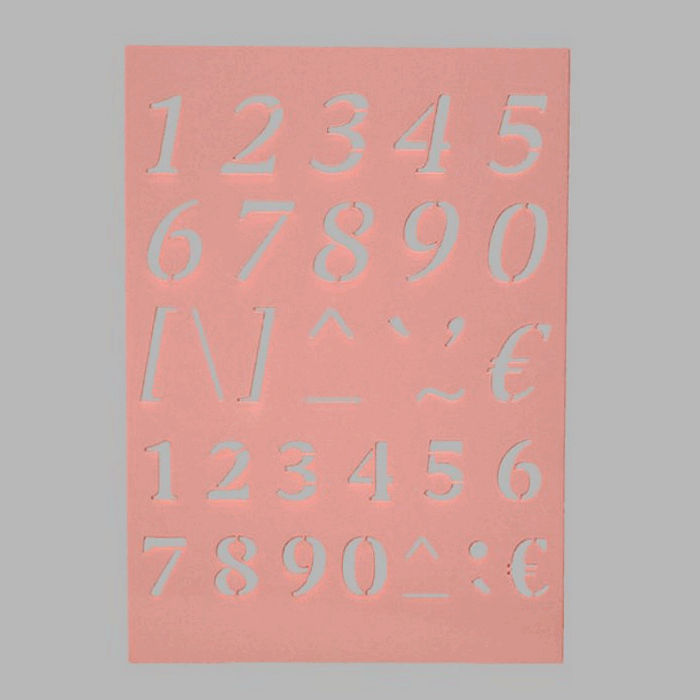 numbers and symbols stencil transparent 15 x 21 cm washable