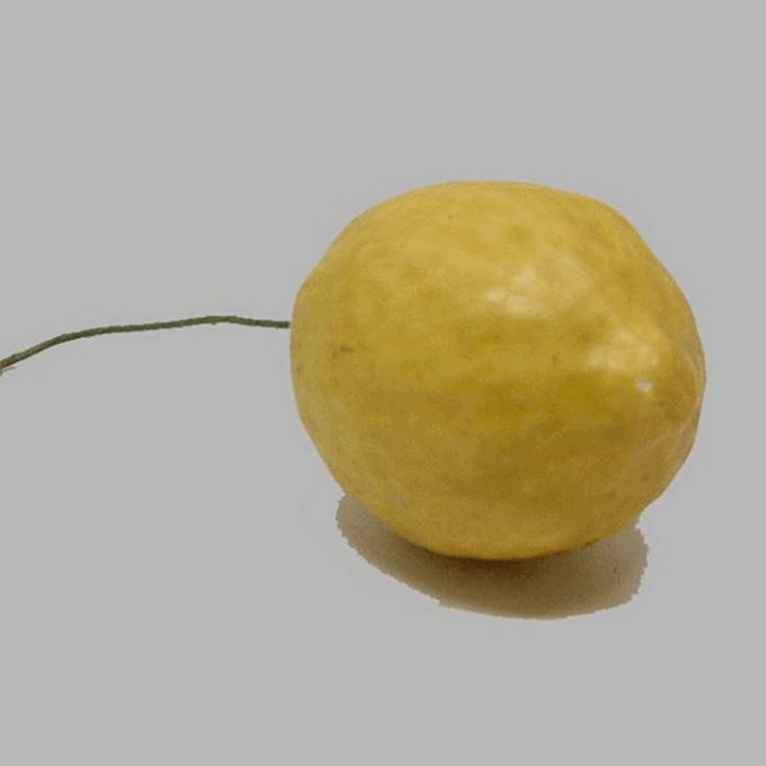 lemon on iron wire color yellow fake fruit 6 x 4 cm