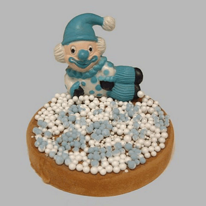 clown and rusks with sprinkles decoration white-blue 12 cm
