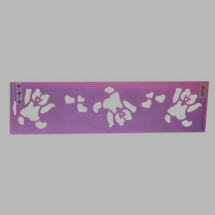 dancing bears stencil color purple 12.5 x 45 cm