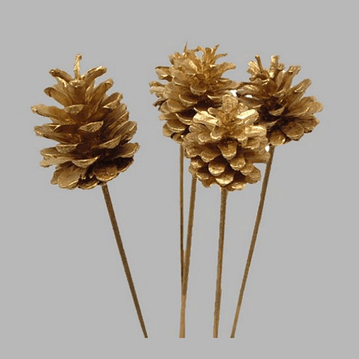 Pine Cone on stick color gold 55 cm 5 pcs