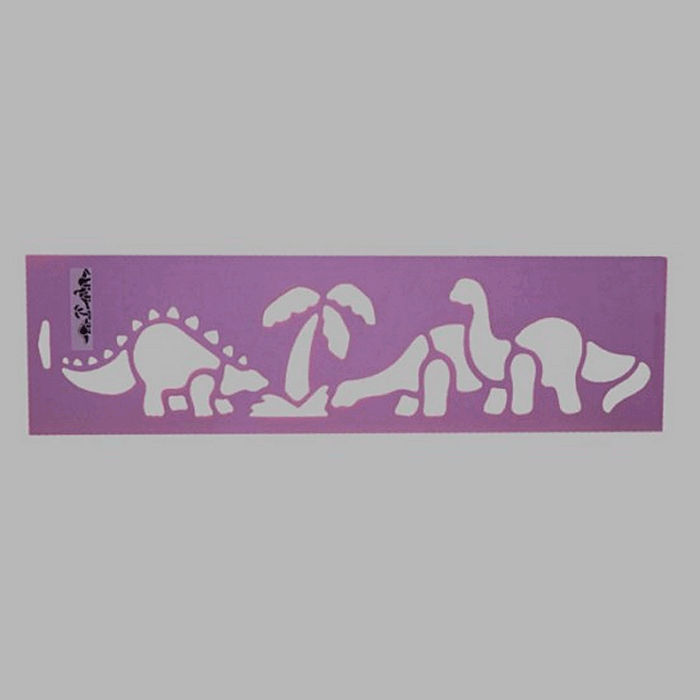 dinosaurs stencil color purple 12.5 x 45 cm