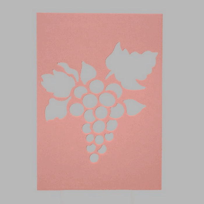 wine grapes stencil transparent 15 x 21 cm washable