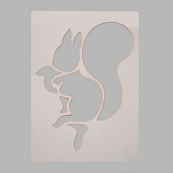 squirrel stencil color white 20 x 28 cm washable