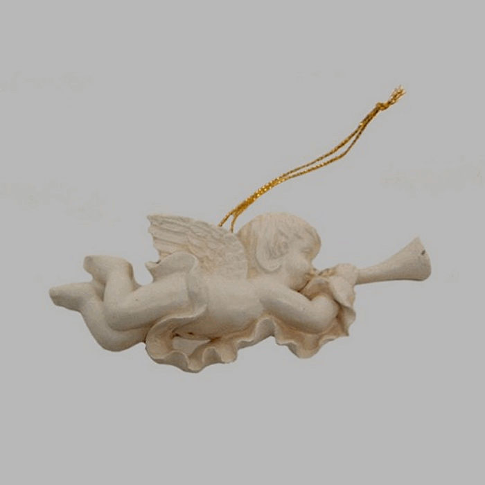 Angels of porcelain color white 10 x 3 cm 4 pieces