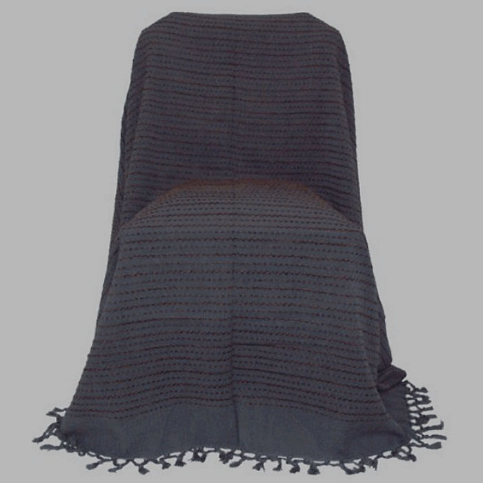 grand foulard grey with brown wire 220 x 270 cm