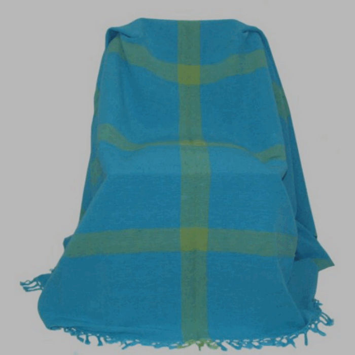 grand foulard sea blue with yellow stripes 175 x 250 cm