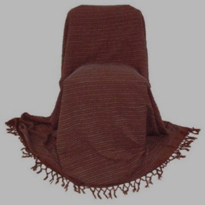 grand foulard brown with grey thread 220 x 270 cm