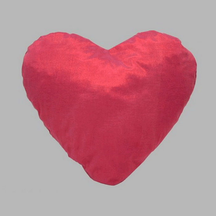 Pillow in heart shape handmade color red 43 x 44 cm