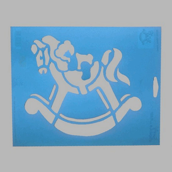 rocking horse stencil color blue 20 x 25 cm