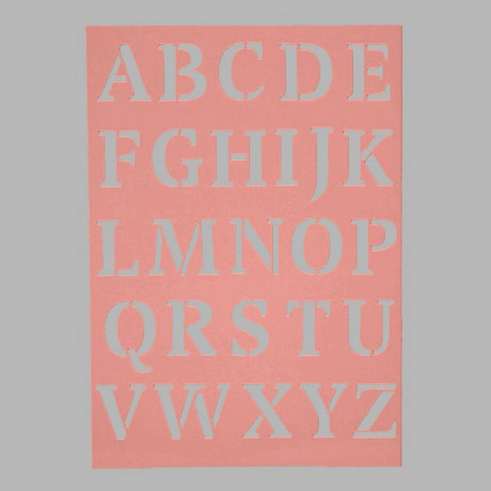 capital letters stencil transparent 15 x 21 cm washable