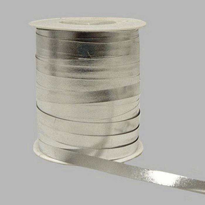 gift ribbon of paper color silver 10 mm wide 250 m