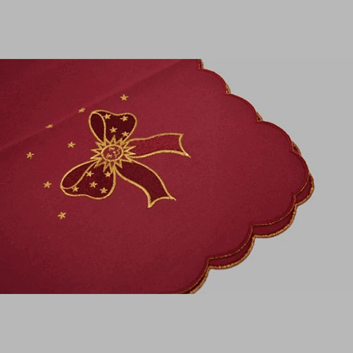 tablecloth embroidered design Christmas bordeau red 80 x 80 cm