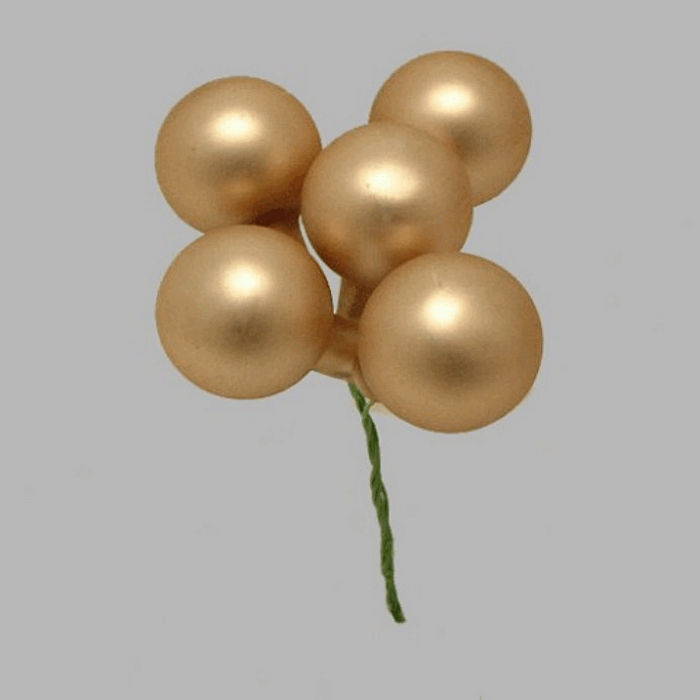 Christmas balls on wire color gold 2 5 cm-5 pcs