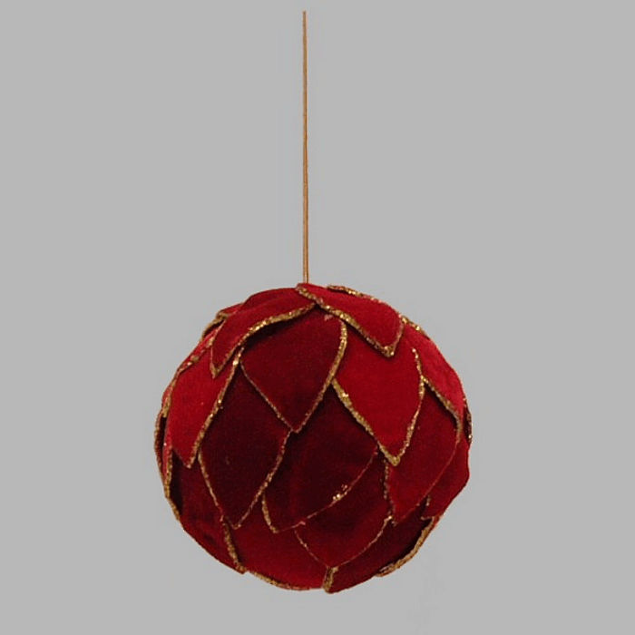 Velvet Christmas ball color gold and red 10 cm