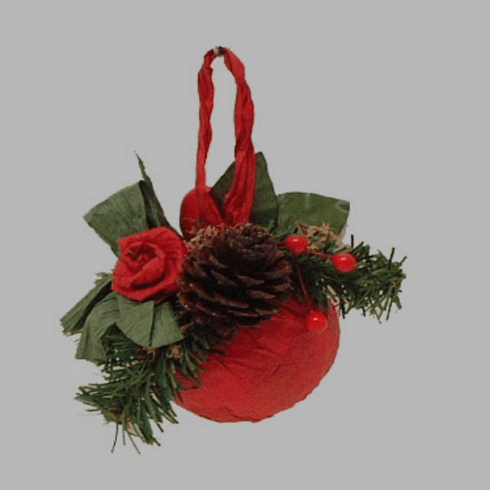 Christmas ball with ornaments color red 10 cm