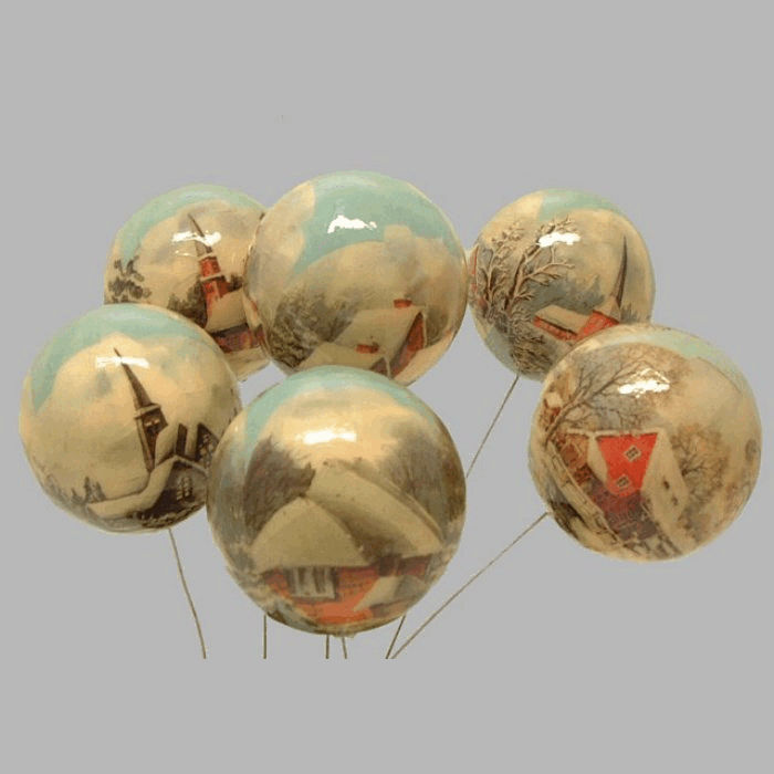 nostalgic ball on iron wire 75 mm per 6 pieces