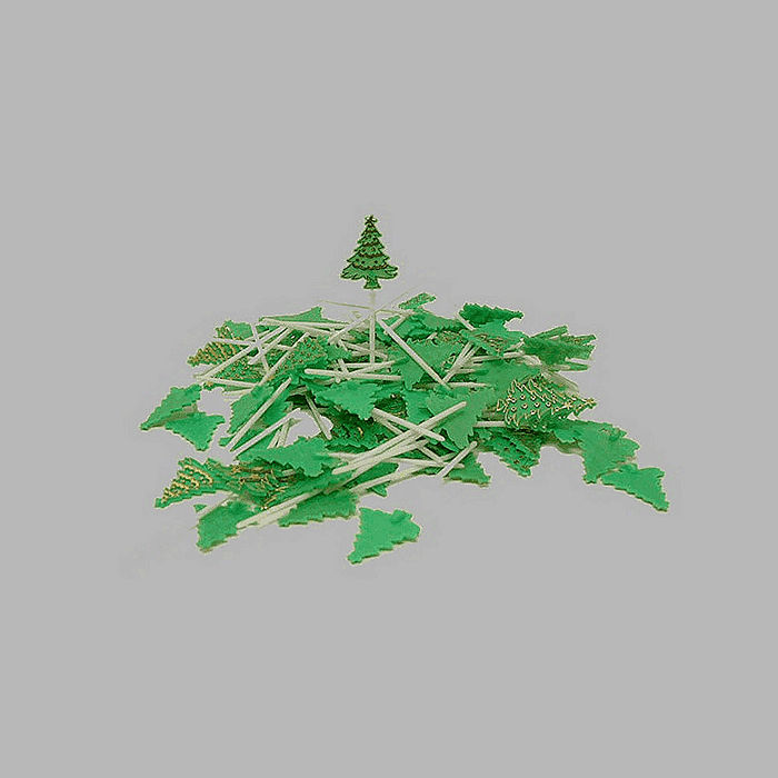 Christmas tree on spike green and gold 100 pcs of 9 cm