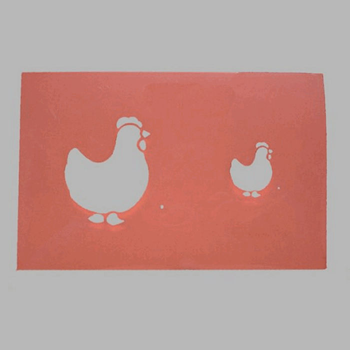 pochoir de poulets transparent 16 x 25 cm lavable
