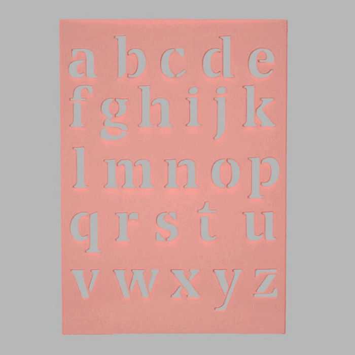 small letters stencil transparent 15 x 21 cm washable