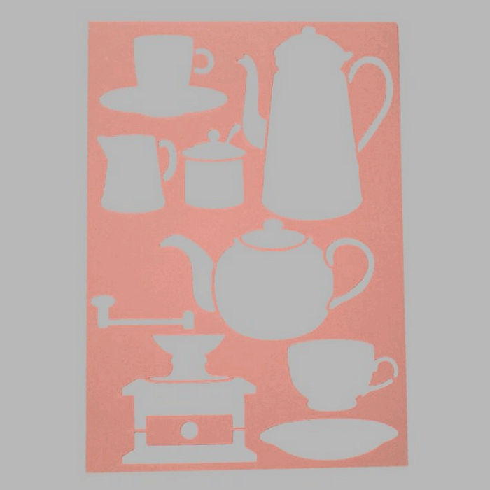 coffee and tea stencil transparent 21 x 29,7 cm washable