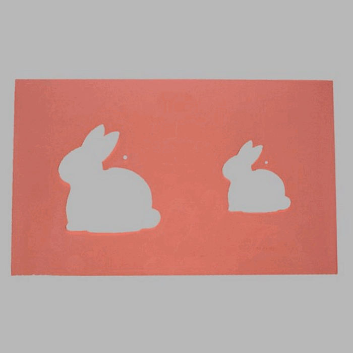 rabbits stencil transparent 16 x 25 cm washable
