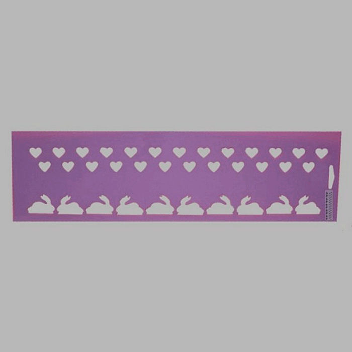 bunnies and hearts stencil color purple 12.5 x 45 cm