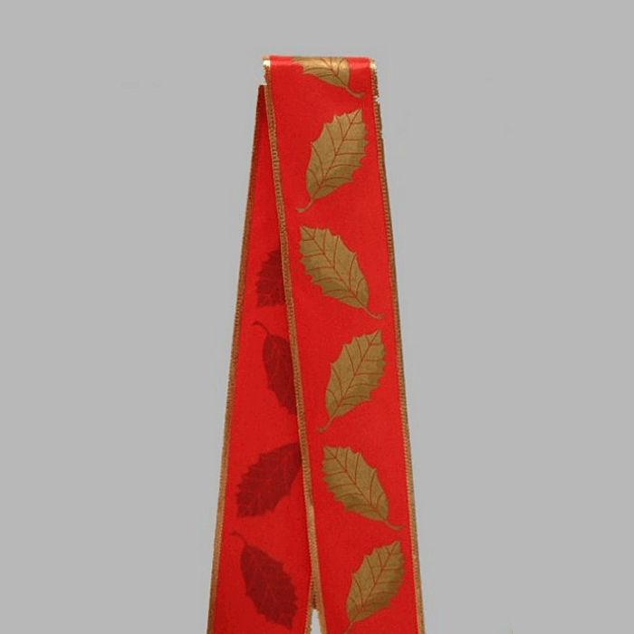 ribbon of fabric color red gold leaves design width 70 mm