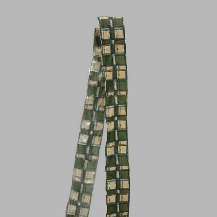 ribbon of fabric beige green checkered design width 40 mm