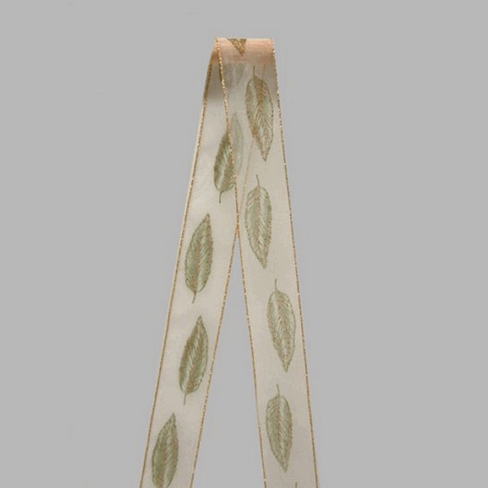 ribbon of fabric white gold green leaves pattern width 40 mm