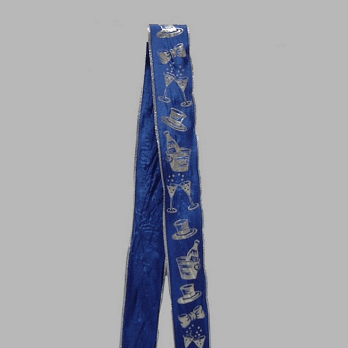 ribbon of fabric blue silver festive design width 35 mm