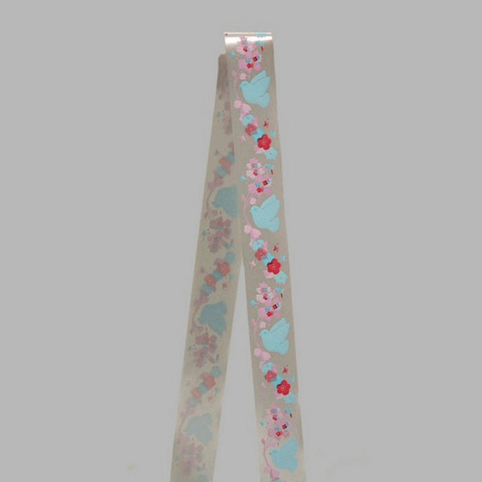 ribbon of fabric silver rose blue lovebirds width 35 mm