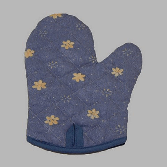 oven glove blue small flower 28 cm