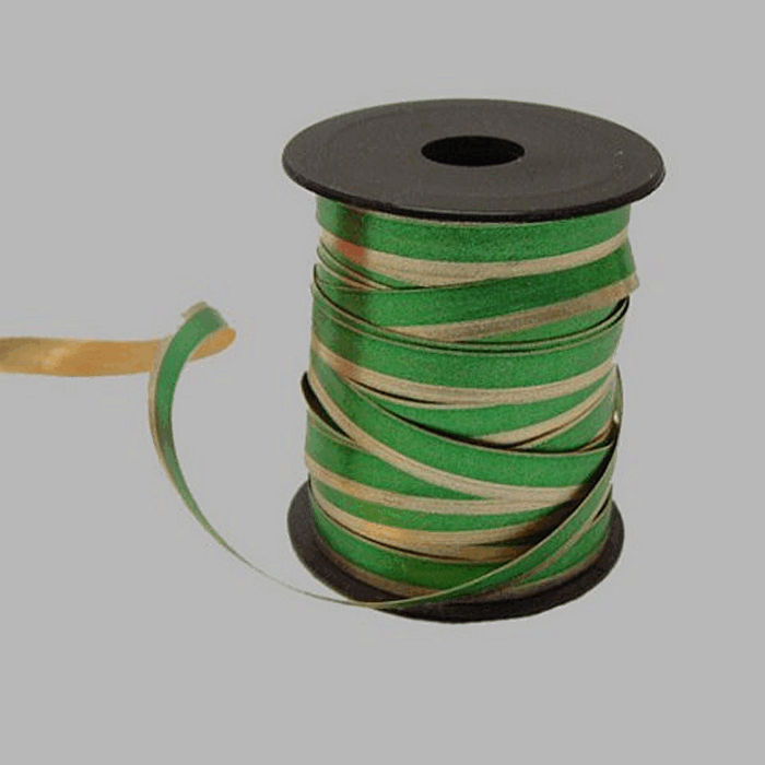 paper ribbon color green-gold length 15 m width 10 mm