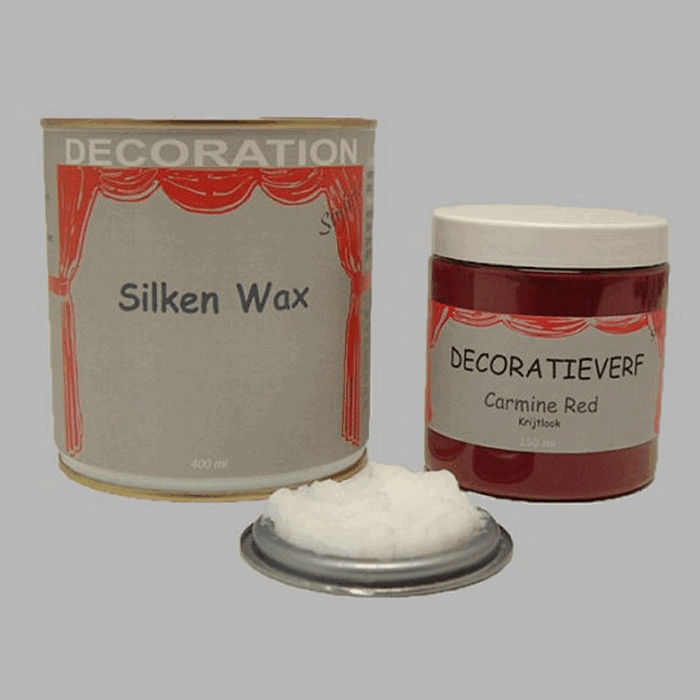 Silken wax (400ml) en krijtverf Carmine Red(250ml)