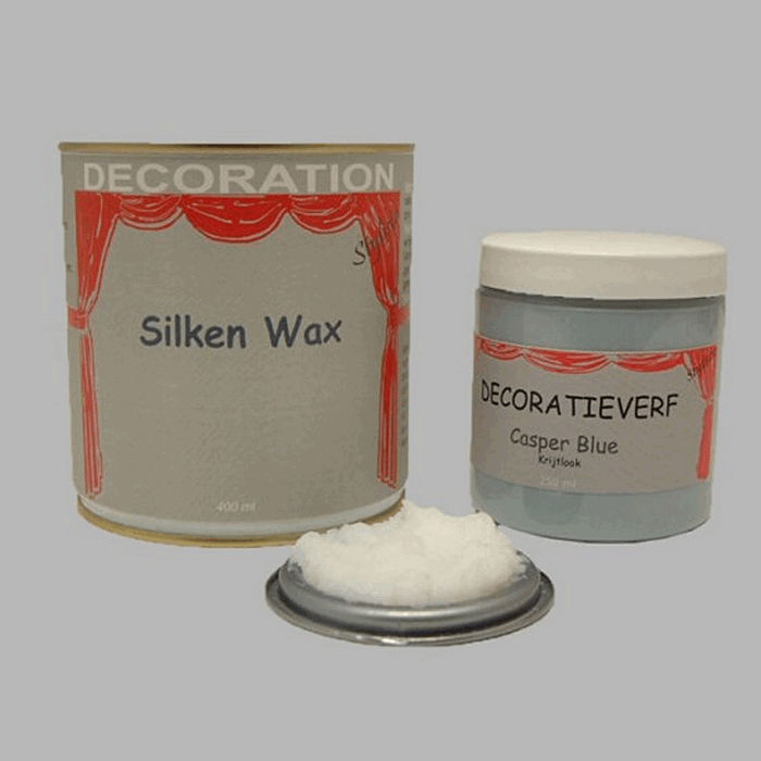 Silken wax (400ml) en krijtverf Casper Blue(250ml)