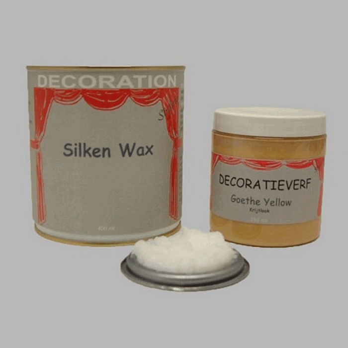 Silken wax (400ml) en krijtverf Goethe Yellow(250ml)