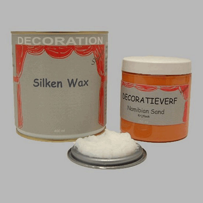 Silken wax (400ml) en krijtverf Namibian Sand(250ml)